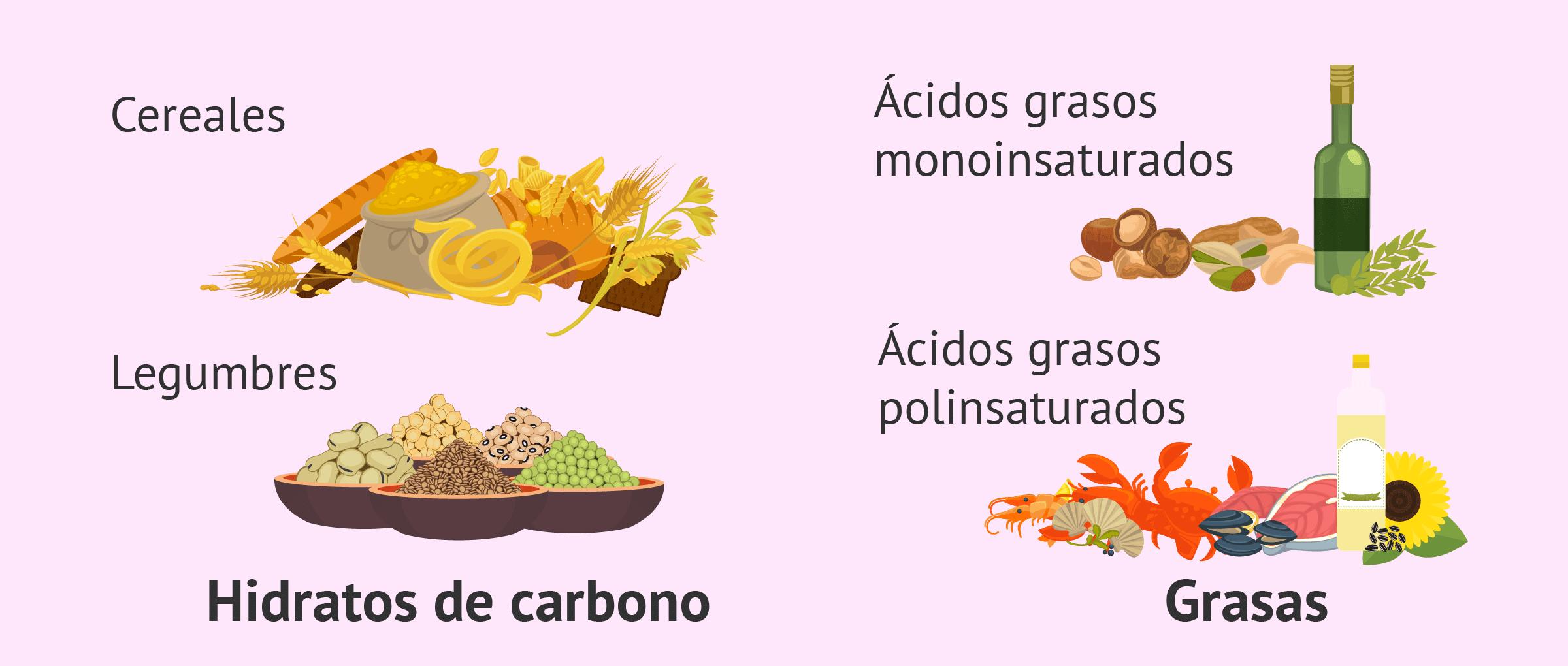 Dieta equilibrada con hidratos de carbono y grasas