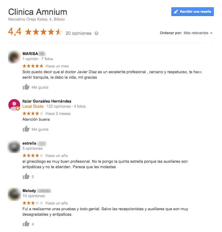 Comentarios de la clínica AMNIUM