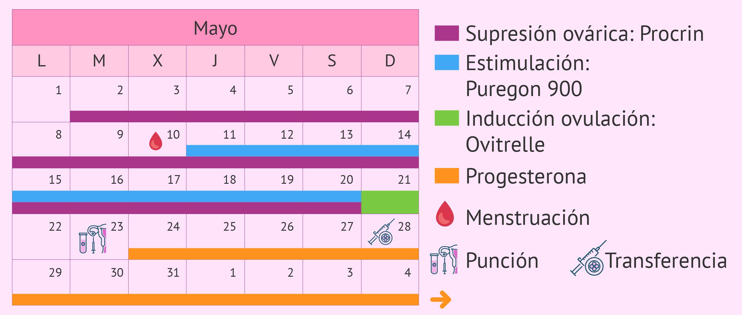 Calendario de medicación para un protocolo de estimulación largo
