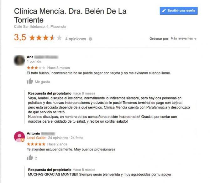 Imagen: Comentarios Clínica Mencía