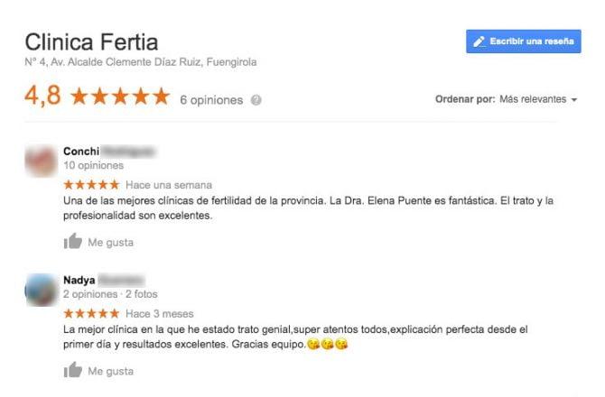 Imagen: Comentarios de la clínica Fertia
