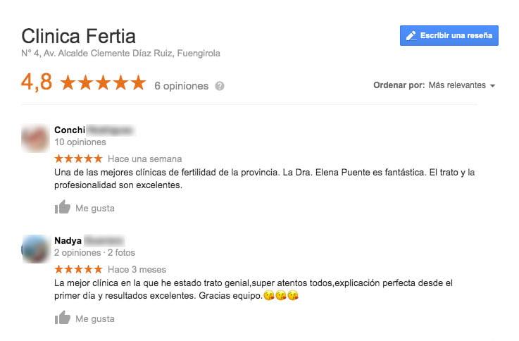 Comentarios de la clínica Fertia