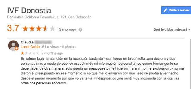 Imagen: Comentario IVF Donostia