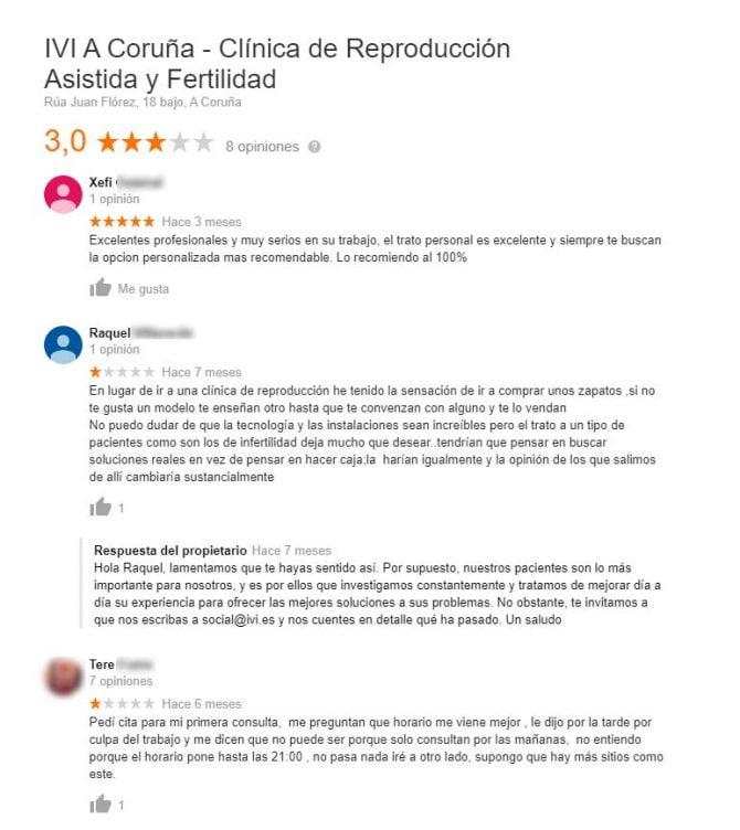 Imagen: Comentarios de la clínica IVI A Coruña