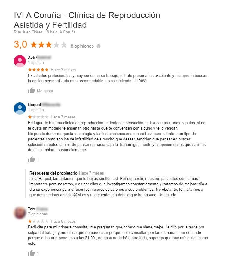 Comentarios de la clínica IVI A Coruña