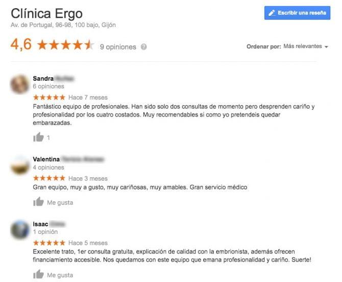 Imagen: Comentarios positivos clínica Ergo