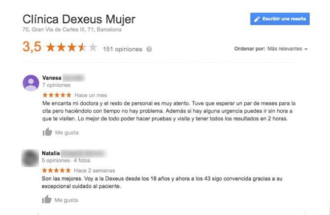 Imagen: Comentarios positivos Dexeus
