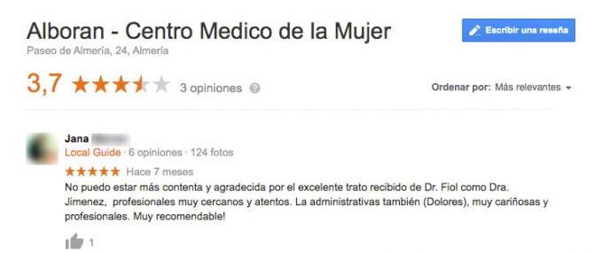 Imagen: Comentario clínica Alborán