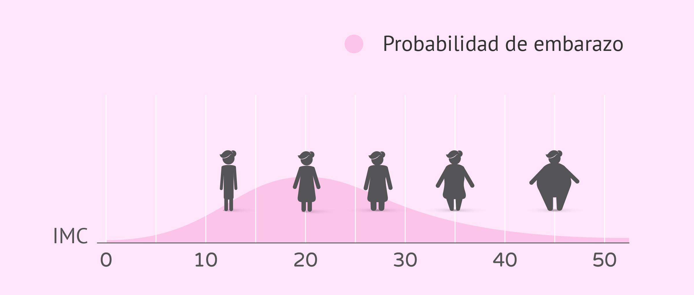 Probabilidad de embarazo en función del IMC