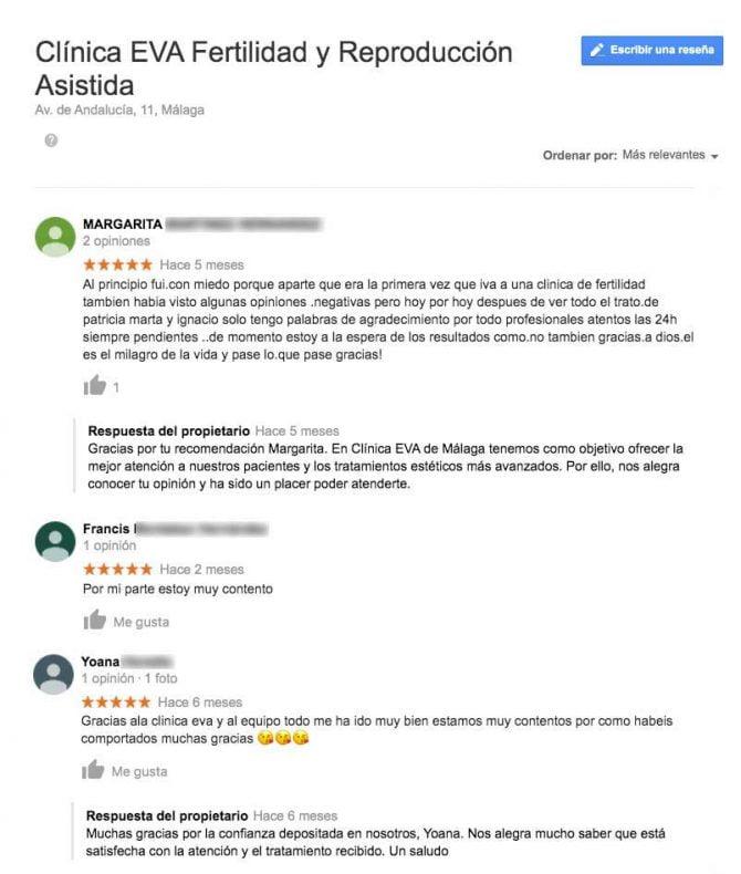 Imagen: Comentarios Clínica EVA Málaga
