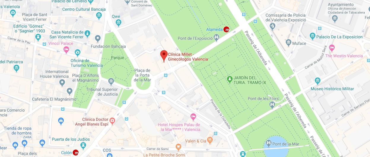 localizacion clinica millet mapa
