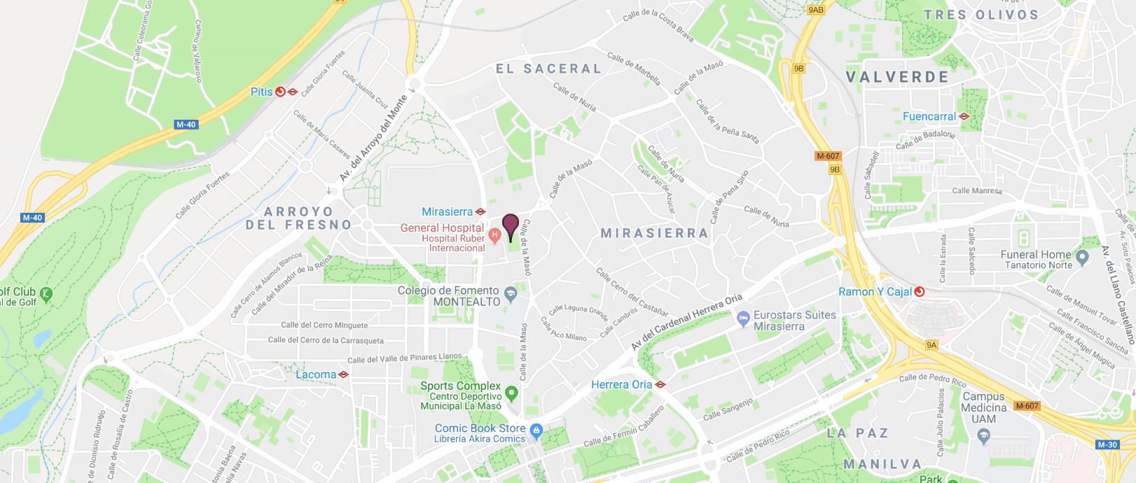 localizacion hospital ruber internacional mapa