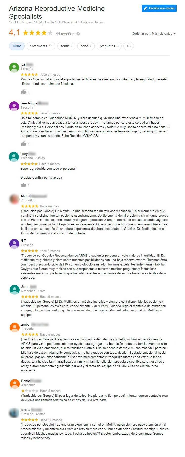 Opiniones de Arizona Reproductive Medicine Specialists