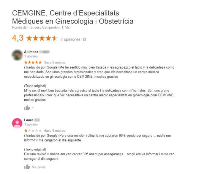 Imagen: Opiniones de CEMGINE