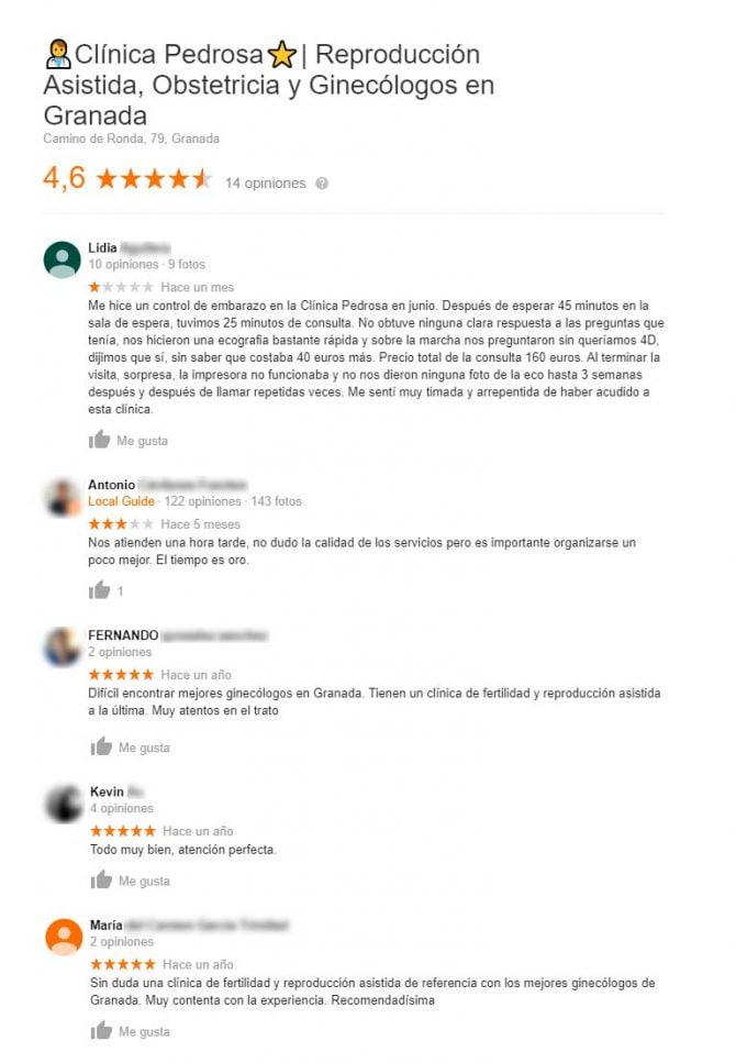 Imagen: Opiniones de la clínica Pedrosa