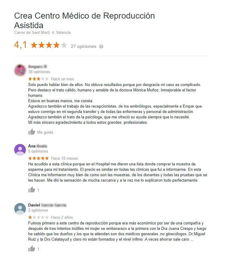 Opiniones de la clínica CREA