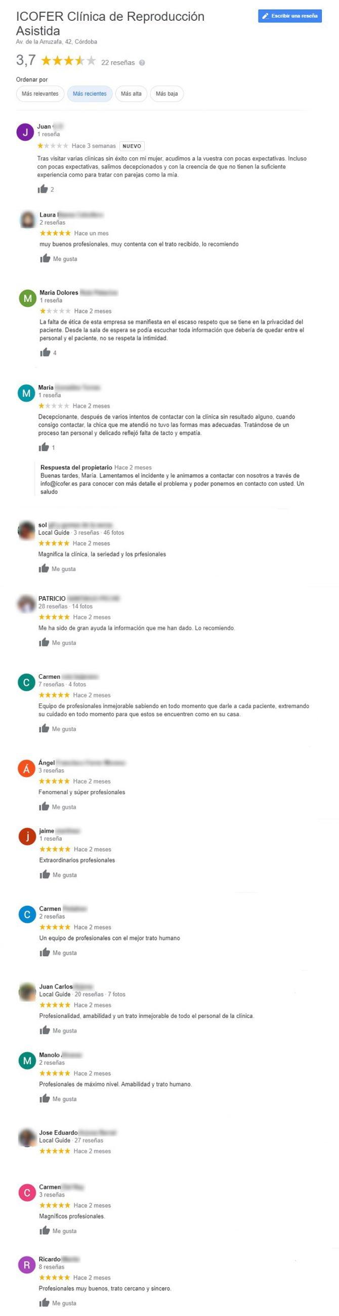 Imagen: Opiniones sobre la clínica Icofer