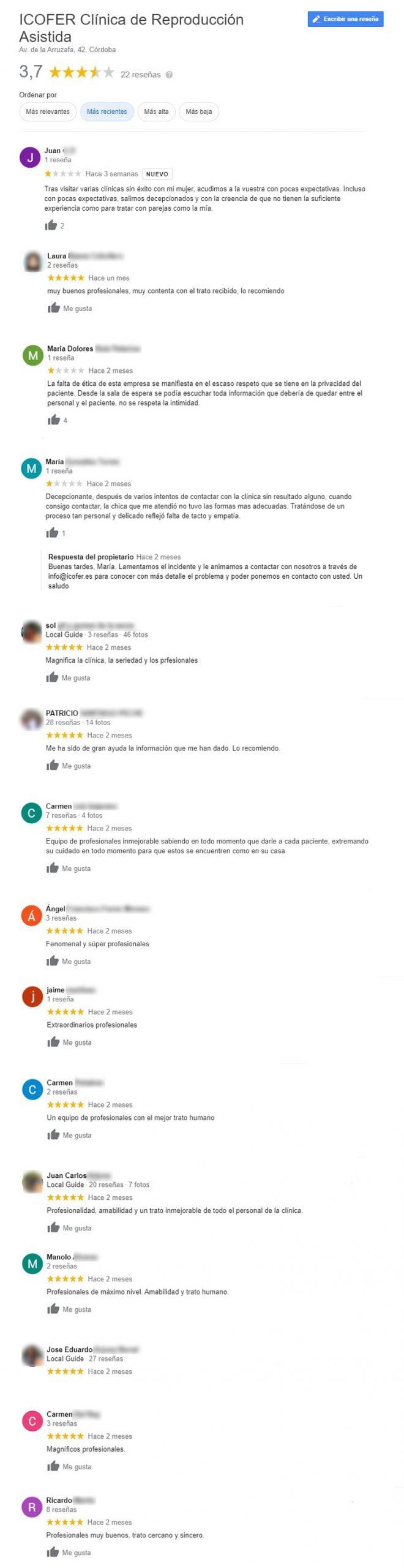 Opiniones sobre la clínica Icofer