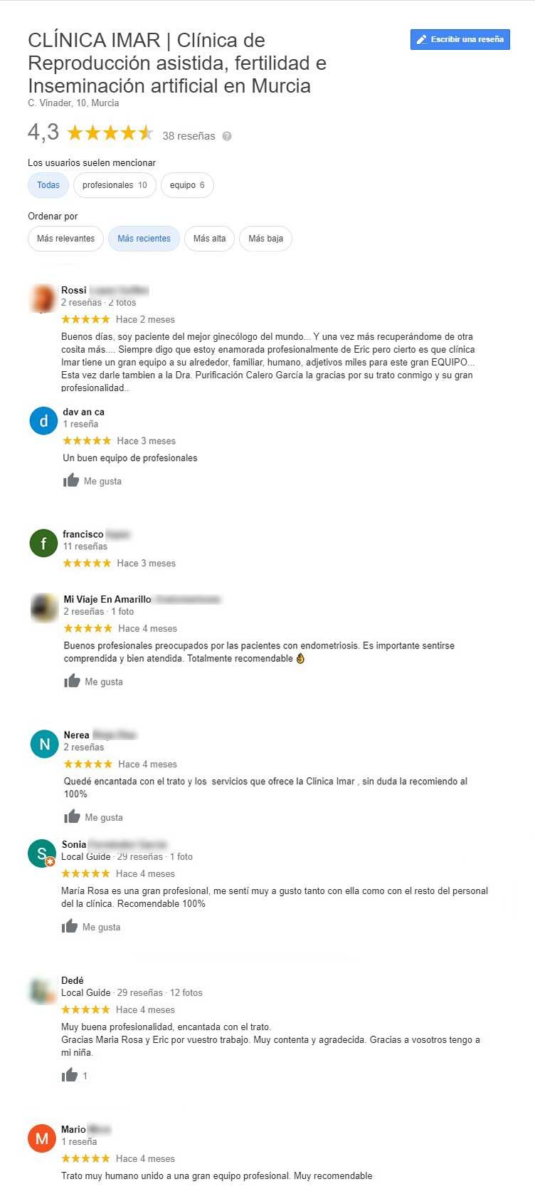 Opiniones de la clínica IMAR