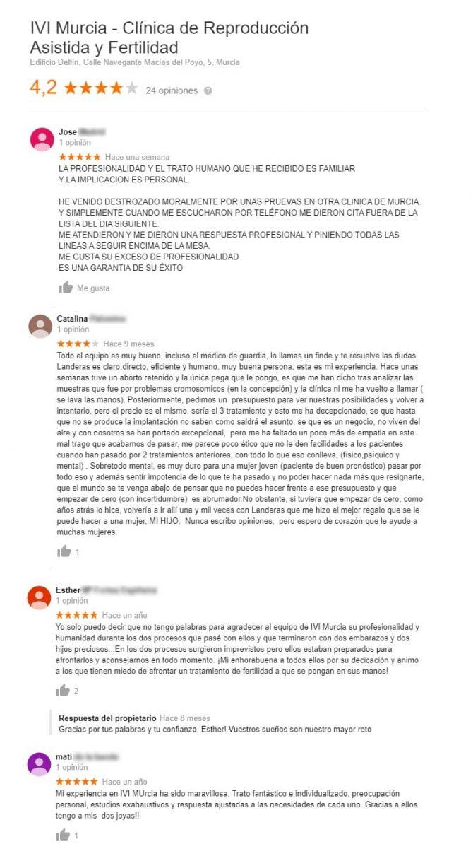 Imagen: Opiniones de IVI Murcia