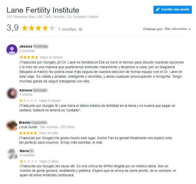 Imagen: Opiniones sobre Lane Fertility Institute Novato