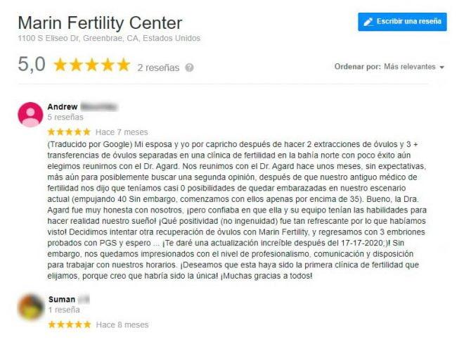 Imagen: Opiniones sobre Marin Fertility Center