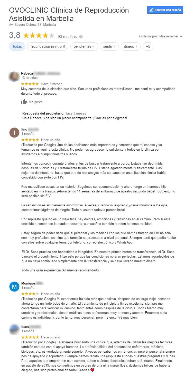 Opiniones de Ovoclinic Marbella