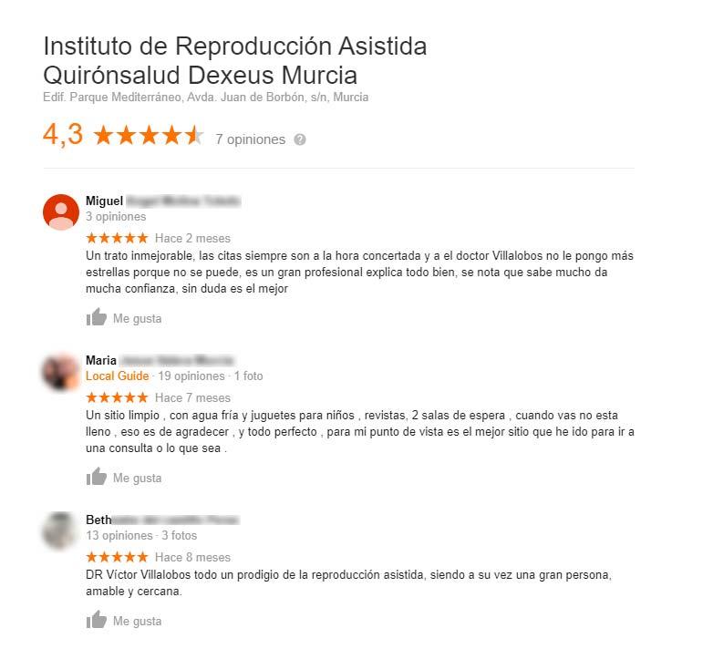 Opiniones de Quirónsalud Dexeus Murcia
