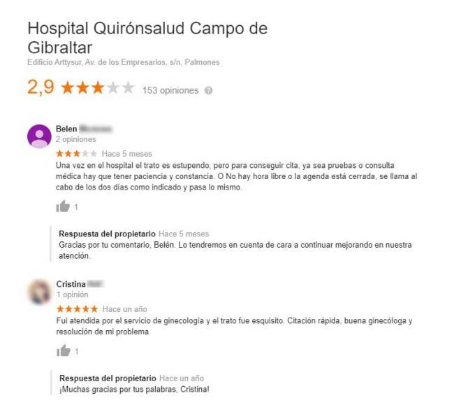 Imagen: Opiniones del Hospital Quirónsalud Campo de Gibraltar