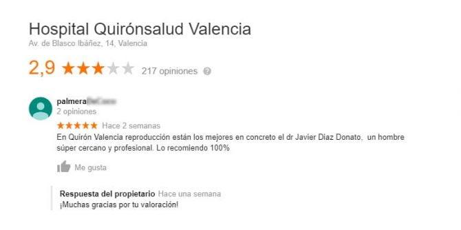 Imagen: Opiniones de Quirónsalud Valencia