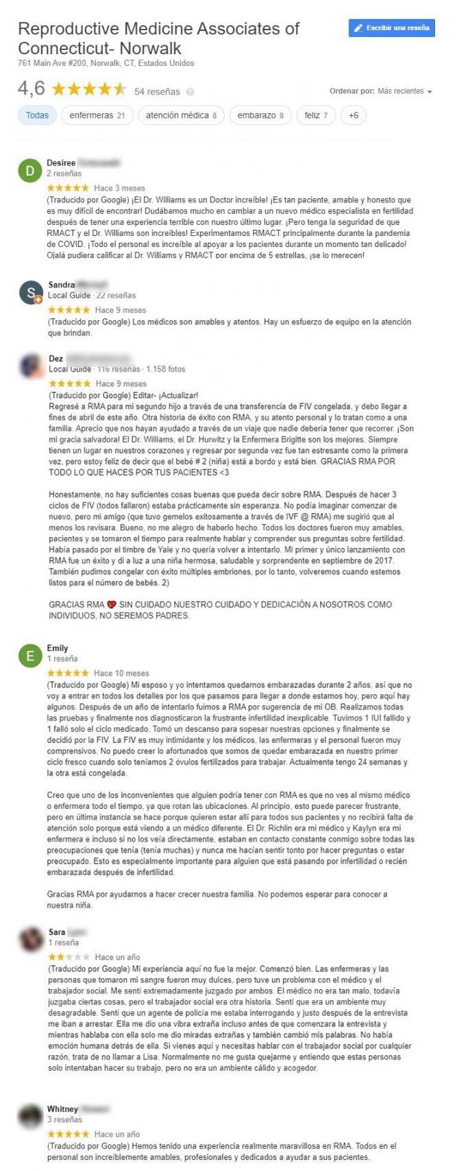 Imagen: Opiniones sobre la clínica RMAC Norwalk