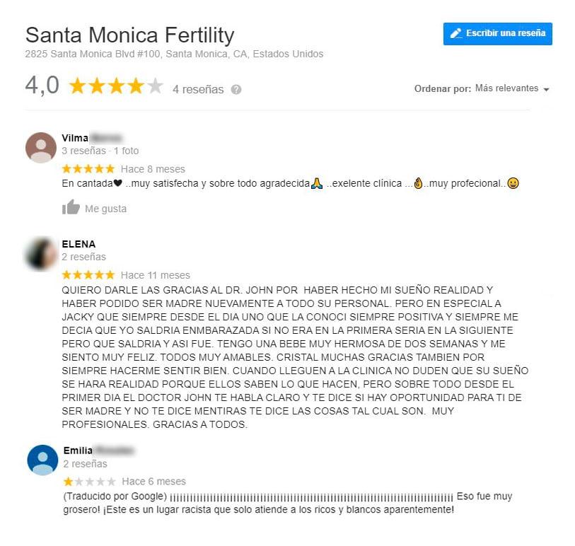 Opiniones sobre Santa Monica Fertility