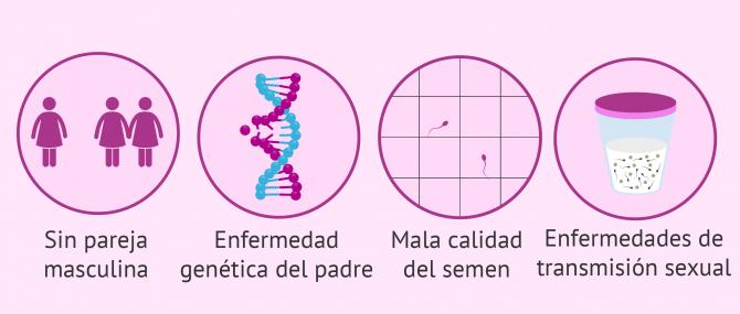 Imagen: Indicaciones de la inseminación artificial con esperma de donante