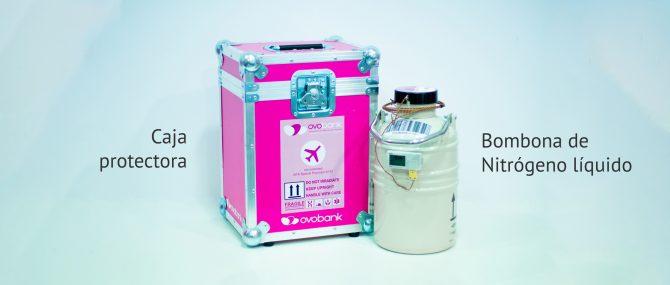 Imagen: Bombona y contenedor para transportar óvulos y embriones